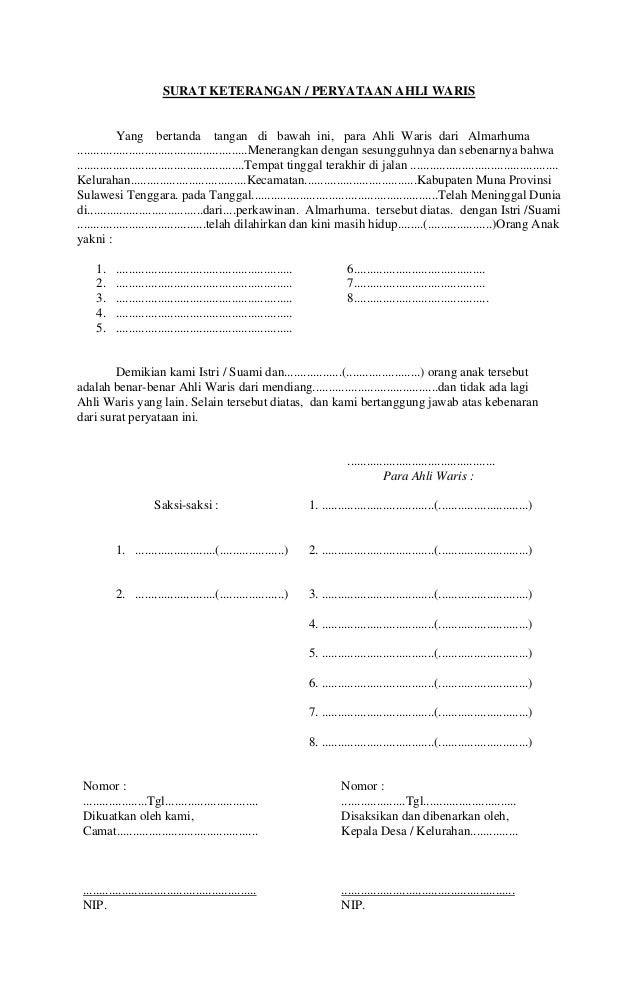 Contoh Surat Pernyataan Jual Beli Tanah Warisan Gontoh