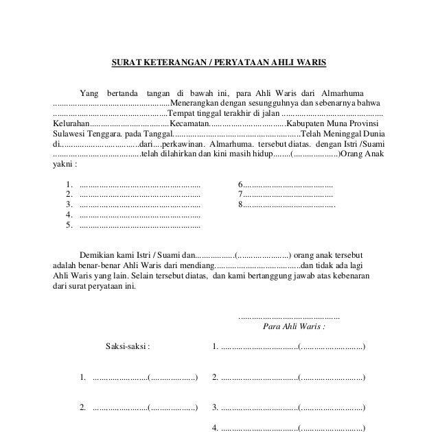 Contoh Surat Persetujuan Ahli Waris Jual Beli Tanah Surat Box