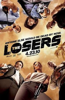 "A group of six looking down from above, with the word ""Losers"" in the center."