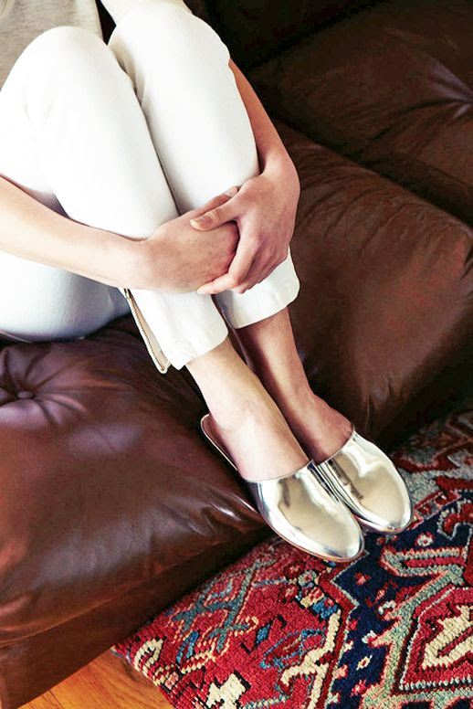 Le Fashion Blog White Cropped Pants Metallic Silver Slides Via Emerson Fry