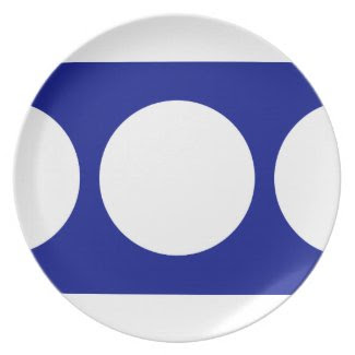 White Circles on Blue Dinner Plate