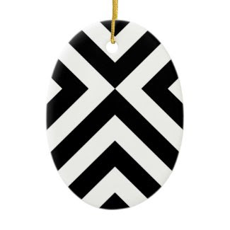 Black and White Chevrons Christmas Ornament