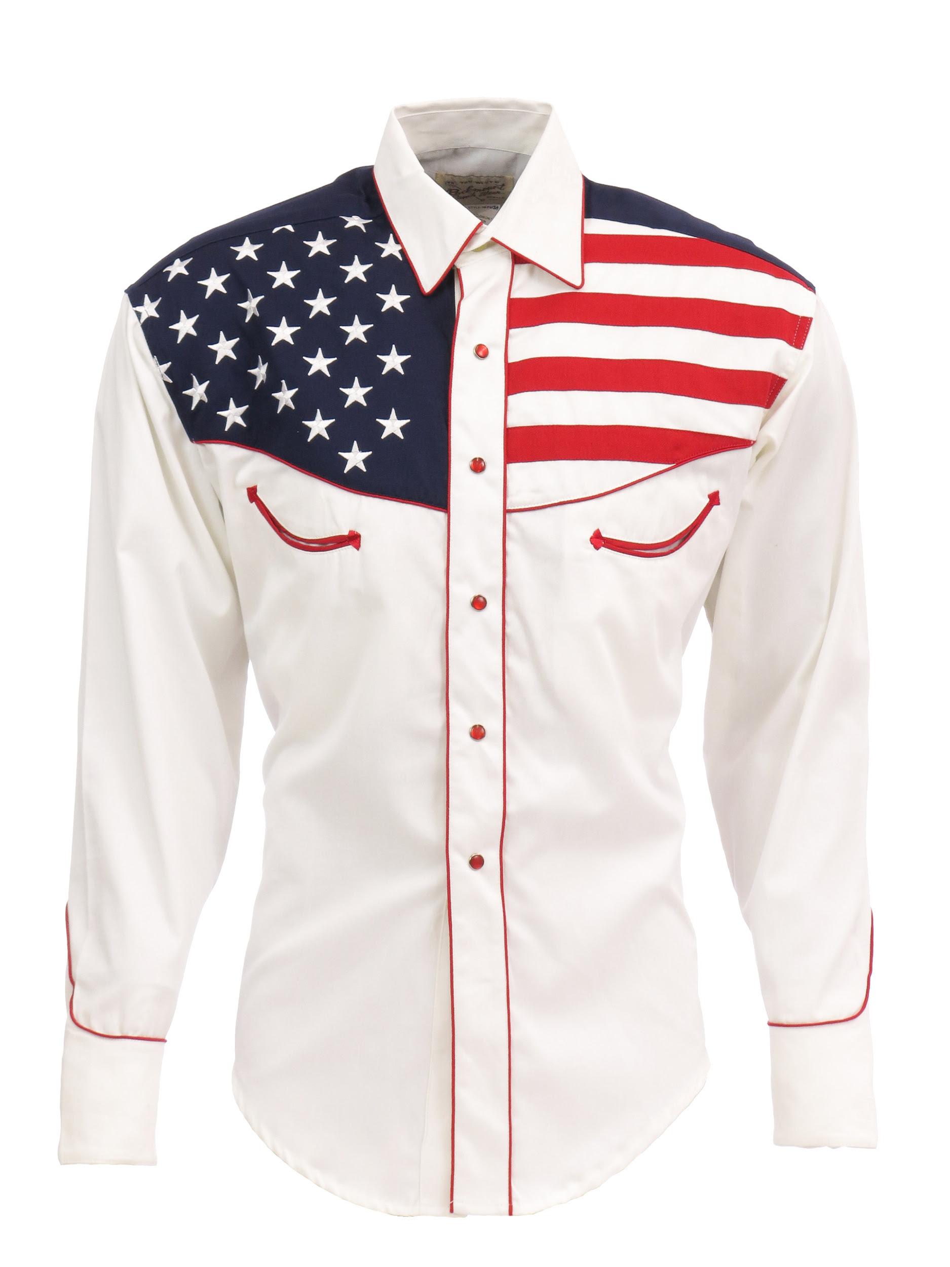 rockmount mens white 100 cotton ls western shirt flag