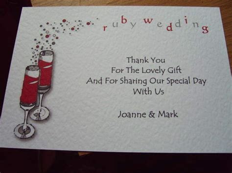 5 RUBY WEDDING ANNIVERSARY THANK YOU CARDS PERSONALISED