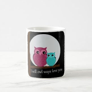 Mother and Baby Owl on Tree Branch Coffee Mugs