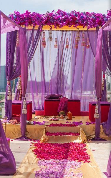 The purple fabric mandap is all set and ready to make for