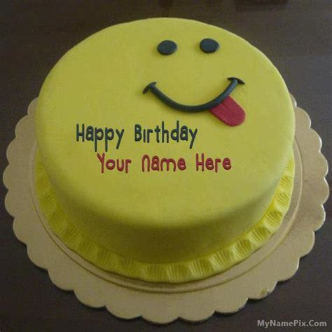Silly Smiley Birthday Cake With Name