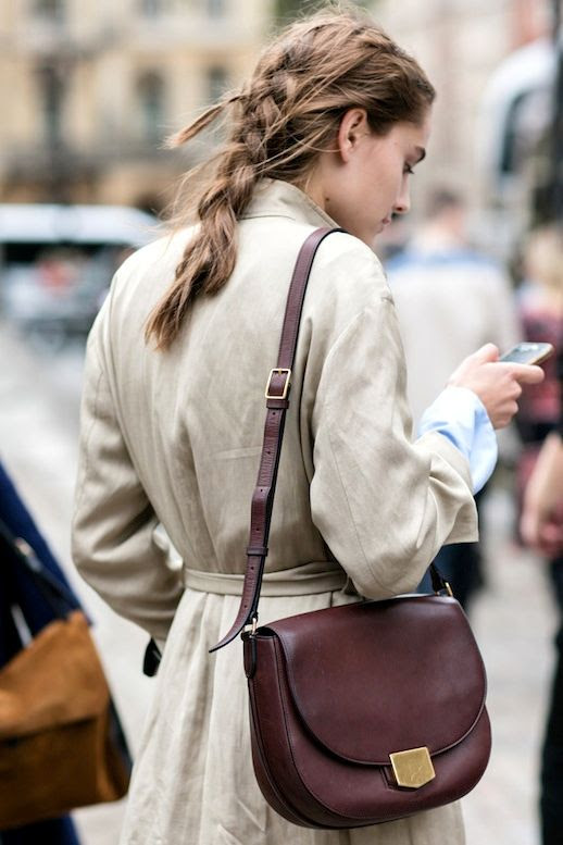 Le Fashion Blog Fall Street Style Hair Messy Undone Braid Khaki Trench Coat Burgundy Bag Via Vogue Paris