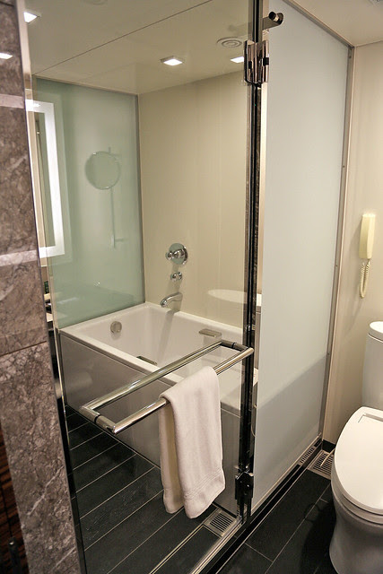The bathrooms feature a Japanese style deep bathtub