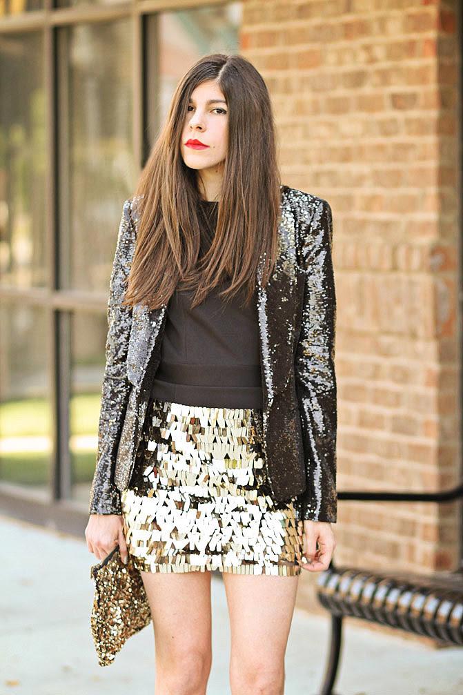 Armani Exchange Sequin blazer, Dolce and Gabbana wedges, Zara sequin clutch, Fashion outfit