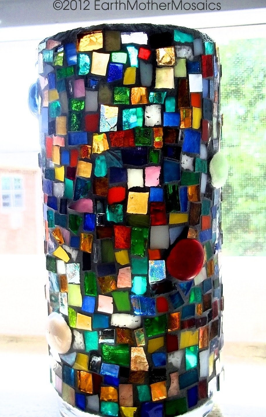Items similar to Stained Glass Mosaic Vase, Candle Holder ...