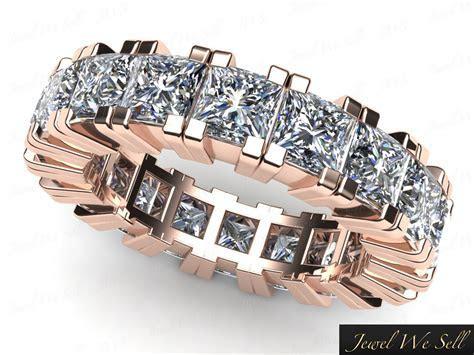4.60Ct Princess Cut Diamond Eternity Band Wedding Ring