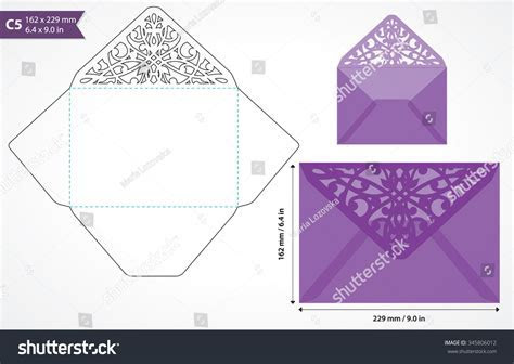 Die Cut Envelope Template Vector Standard Stock Vector