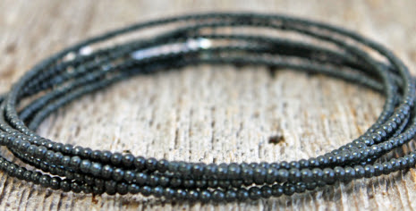 mens black jade wrap bracelet with tiny black jade beads and sterling silver magnet clasp