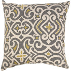 Pillow Perfect Decorative Damask Square Toss Pillow, Gray/Yellow