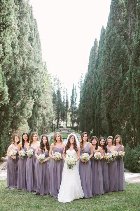 strapless maxi Lavendel Kleider für die Brautjungfern und einem one-shoulder-one