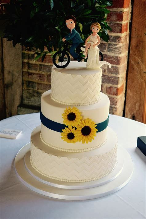 3 Tier Chevron and Sunflower Wedding Cake   Wedding Cakes