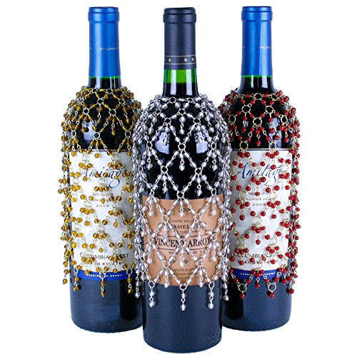 Sparkling Double Dangle Wine Bottle Covers, Set of 3 Beaded Wine Skirts in Gold, Silver, and Red