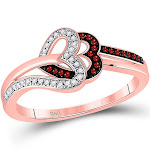 10k Rose Gold Womens Round Red Color Enhanced Diamond Heart Ring 1/6 Cttw - 99262-9