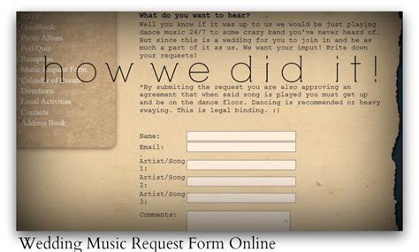 Wedding website wording for music request forms this would