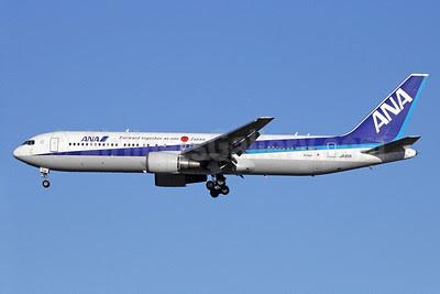 ANA (All Nippon Airways) Boeing 767-381 ER JA611A (msn 32980) (Forward together as one Japan) NRT (Michael B. Ing). Image: 910301.
