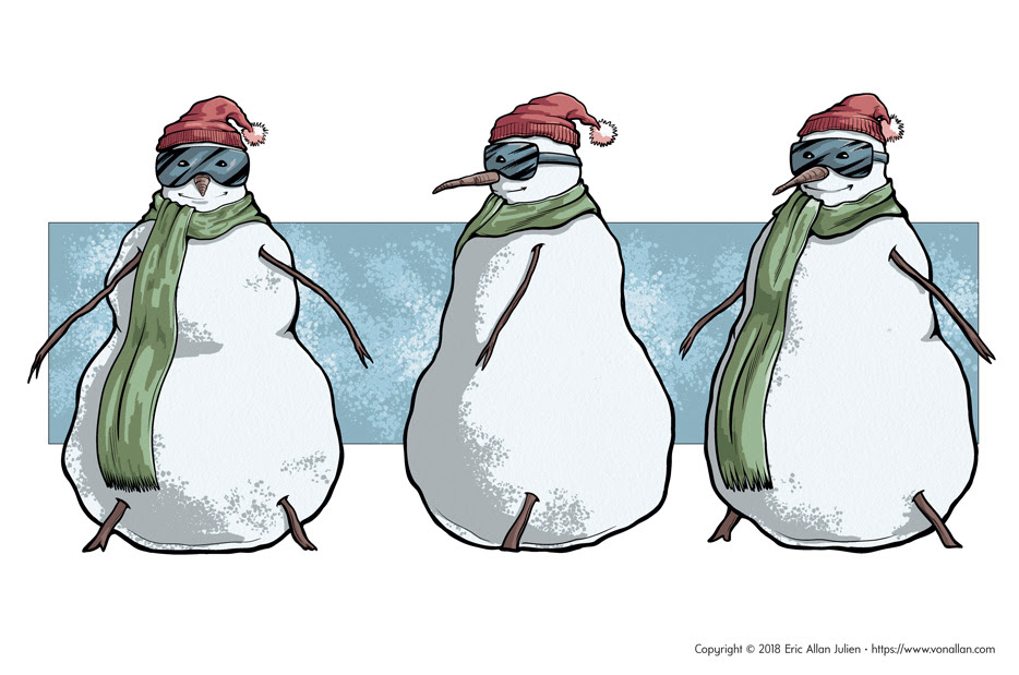 Skiing Snowman pinup and concept art by Von Allan