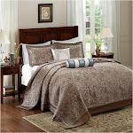 Madison Park Whitman Blue Jacquard Bedspread Set (Queen)