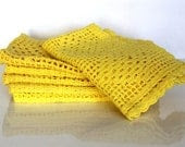 Antique Hand Crocheted Cotton Yellow Placemats Set of Six by Uptown Vintage - UptownVintage