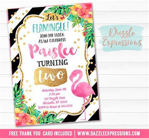Printable Watercolor Flamingo Birthday Invitation   Luau
