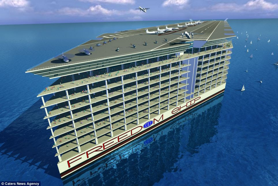 Designed by the Florida-based Freedom Ship International (FSI), the floating city is set to cost $10 billion and weigh 2.7 million tonnes - making it too large to ever dock.