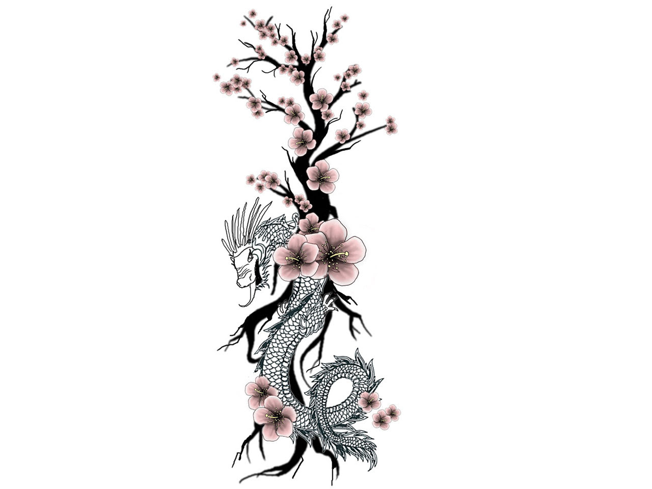 Japanese Dragon And Cherry Blossom Tattoo Design