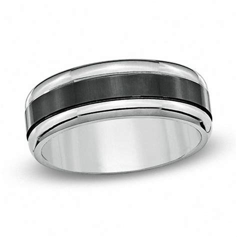 Men's 8.0mm Black Enamel Inlay Titanium Wedding Band