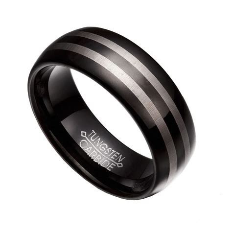 Black & Gray Tungsten Carbide 8mm Comfort Fit Wedding Band