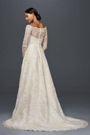 Off The Shoulder Lace A Line Wedding Dress   David's Bridal
