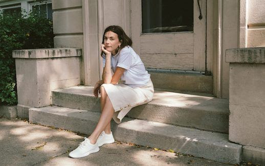 Le  Fashion  Blog  Basic  White  T  Shirt  Knit  Midi  Skirt  White  Sneakers  Via  Wide  Eyed  Legless