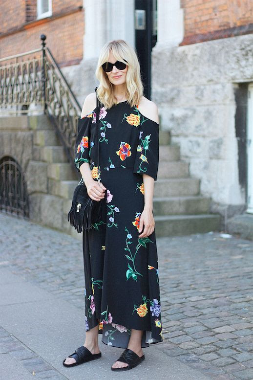 Le Fashion Blog Maxi Floral Dress Black Slides Via Blame It On Fashion