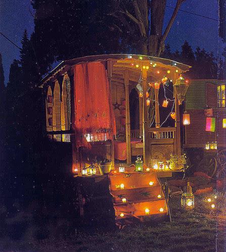dark, decor, gypsy, gypsy wagon, lights, night