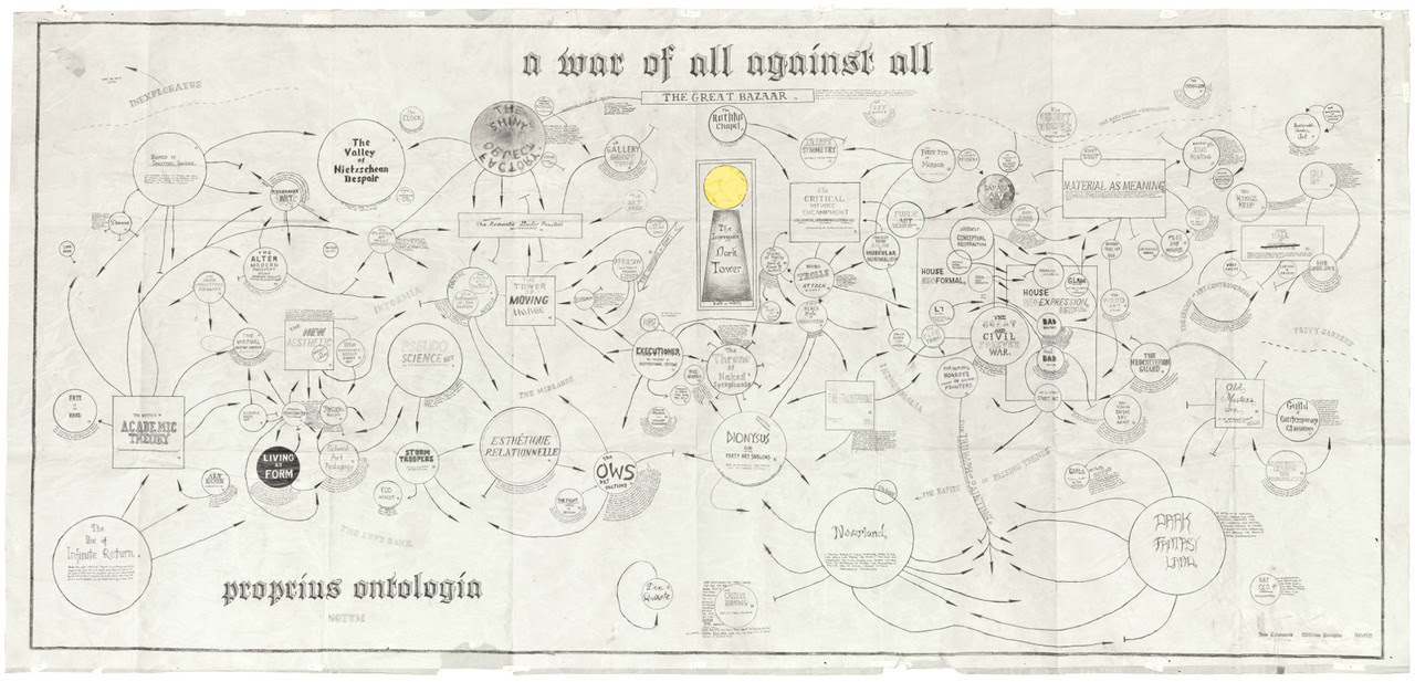 A War of All Against All, William Powhida and Jade Townsend, Graphite on vellum, 9' x 5', 2012.  Courtesy of Poulsen Gallery, DE.  Click through for a high-resolution image.