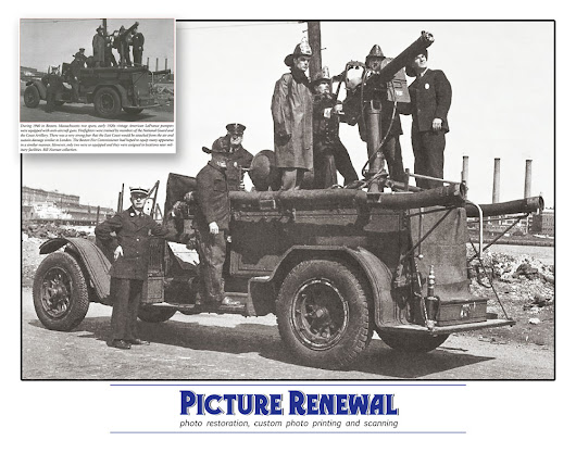 photo restoration of anti-aircraft Boston firetruck