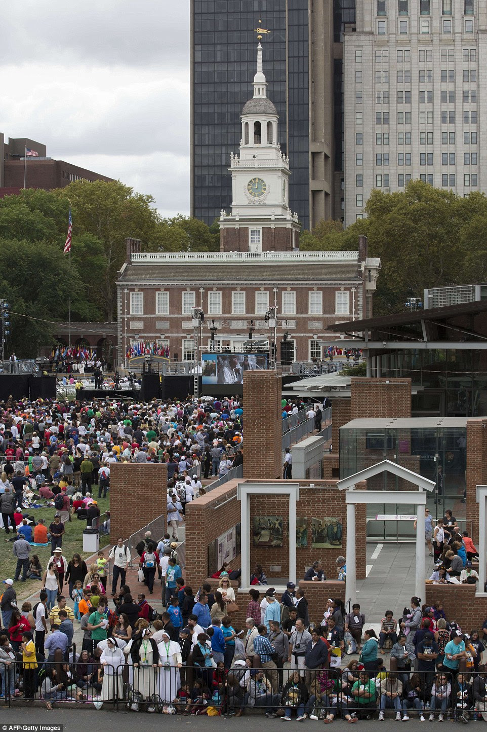 Crowds gathered on Independence Mall in Philadelphia prior to Pope Francis' speech, where he  discussed immigration