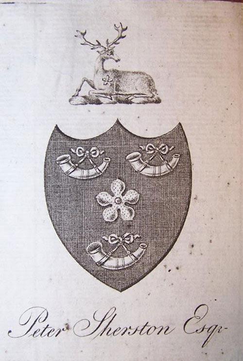 Ex Libris Armorial Bookplate Peter Sherston Esquire Lincolns Inn 1758