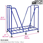 ECR4Kids Mobile Rest Mat Storage Trolley with Casters for Up to 20 Mats, Blue