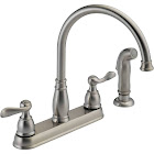 Delta 2-Handle Kitchen Faucet with Spray, Stainless Steel Finish