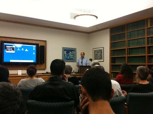 Jahan Ramazani, giving a talk about postcolonial poetries