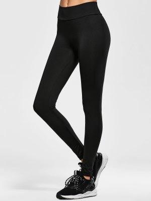 Elastic Waist Running Leggings - Black