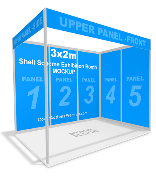 Shell Scheme Exhibition Booth Mockup | Cover Actions Premium | Mockup PSD Template