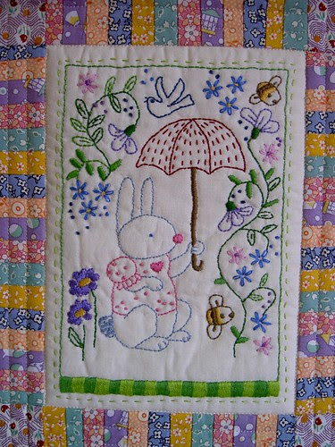 Bunny quilt - close up