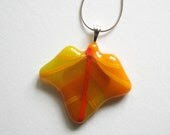 fused glass autumn leaf pendant necklace - orange yellow - ittiillustrations