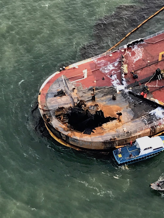 Oil Cleanup Continues in Texas After Barge Explosion, Fire – gCaptain