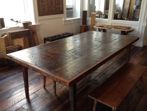 Short Rectangular Distressed White Kitchen Table
